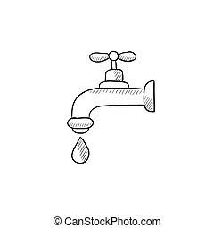 woda kielich, kropla, rys, icon.