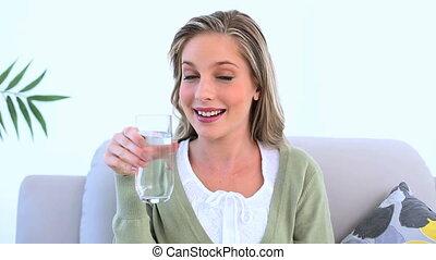 woda, kobieta dzierżawa, szkło