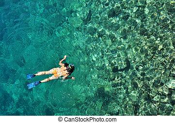 woda, kobieta, snorkeling, tropikalne zwolnienie, młody