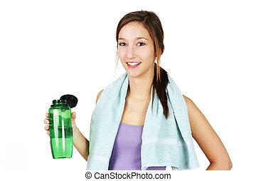 woda, kobieta, sporty, młody
