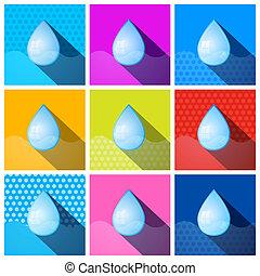 woda, komplet, barwny, ikony, -, symbolika, wektor, krople