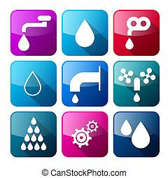woda, komplet, barwny, ikony, -, symbolika, wektor