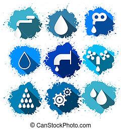woda, komplet, ikony, bryzg, -, symbolika, wektor