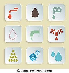 woda, komplet, ikony, -, symbolika, wektor, papier, retro