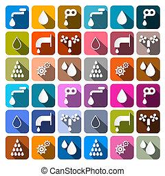 woda, komplet, ikony, -, symbolika, wektor