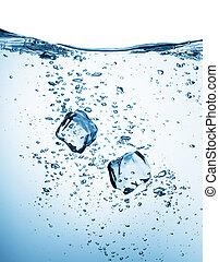 woda, kostki, lód