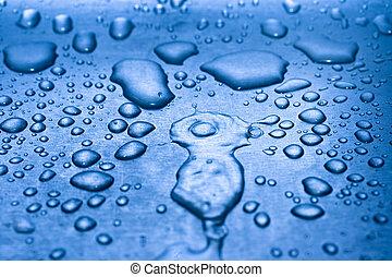 woda, kropelki, metal