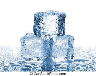 woda krople, kostki, trzy, lód