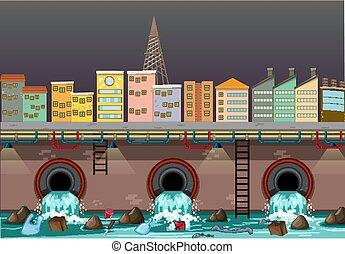 woda, miasto, dren, skażenie