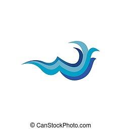 woda ocean, błękitny falowy, zwyczaj, wektor, logo, twórczy, projektować