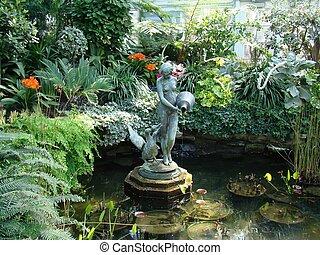 woda ogród, krajobraz, cecha