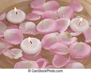 woda, płatki, ruchomy, świece, zdrój, róża