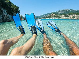 woda, płetwy, płetwy, snorkeling, morze