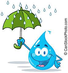 woda, parasol, uśmiechanie się, kropla