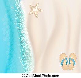 woda, piasek, plaża, tło, rozgwiazda