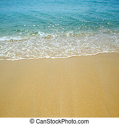 woda, piasek, tło, machać