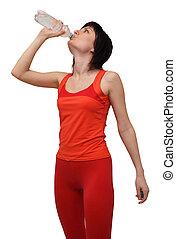 woda, picie, kobieta, sprzęt, lekkoatletyka