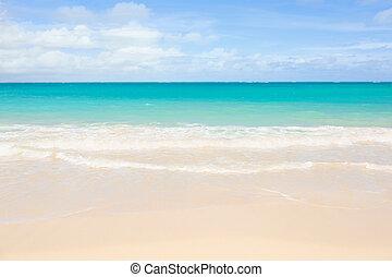 woda, plaża, seafoam, błękitny, jasny, ocean, nadchodzący, piaszczysty, na