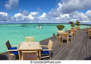 woda, plaża, villa., malediwy, piękny