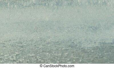 woda, powolny, bryzgając, ruch, fontanna, video