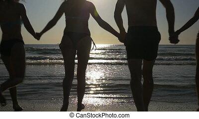 woda, powolny, grupa, ruch, wyścigi, morze, przyjaciele, interpretacja, wschód słońca