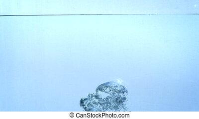 woda, powolny, motion., głębokości, powstanie, bańki