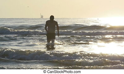 woda, powolny ruch, wyścigi, morze, poza, zmierzch, człowiek