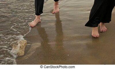 woda, przez, pieszy, boso, para
