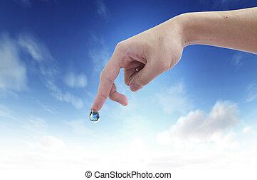 woda, ręka., wnętrze, kropla, planetować ziemię, oprócz, symbol