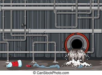 woda rurka, tracić, system, skażenie