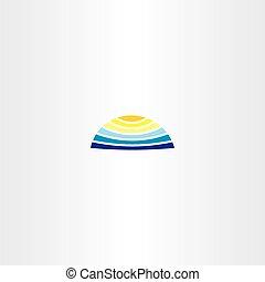 woda, słońce, lato, logo, ikona
