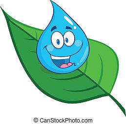 woda, uśmiechanie się, kropla, liść