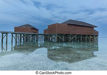 woda, umieszczony, odbicie, morze, dom