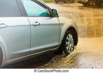 woda, wóz, kałuża, bryzgając, deszcz