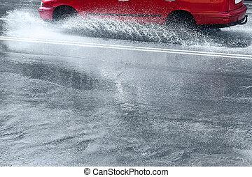 woda, wóz, przez, plamy, zatapiać