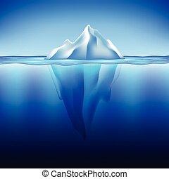 woda, wektor, góra lodowa, tło