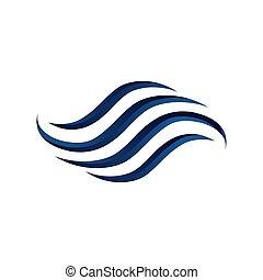 woda, wektor, ikona, ocean, szablon, logo, fale, projektować