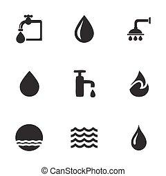 woda, wektor, komplet, ikony