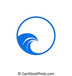 woda, wektor, projektować, fale, ikona, logo, szablon