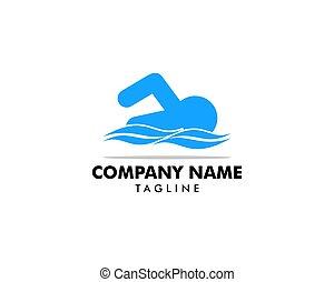 woda, wektor, projektować, logo, sport, pływacki