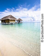 woda, wyspa, bungalow, romantyk, ferie