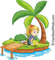 woda, wyspa, dziewczyna, smutny, oglądając