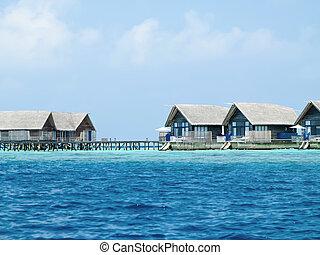 woda, wyspa, willa, chaty