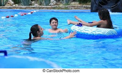 woda, zabawa, park, posiadanie, dziecko