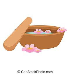 woda, zdrój, garnek, kwiat