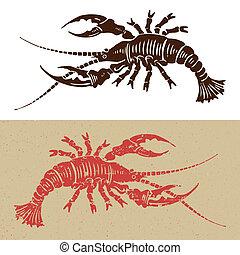 wodcut, seafood, pictogram