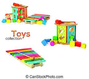 wodden, coloré, collection, jouets