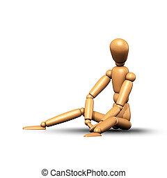 woden, marionetka, bok, posiedzenie