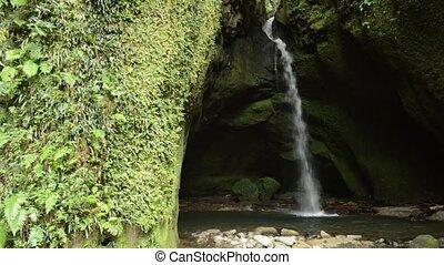 wodospad, wąski, biały