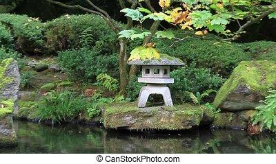 wodospad, w, japoński ogród